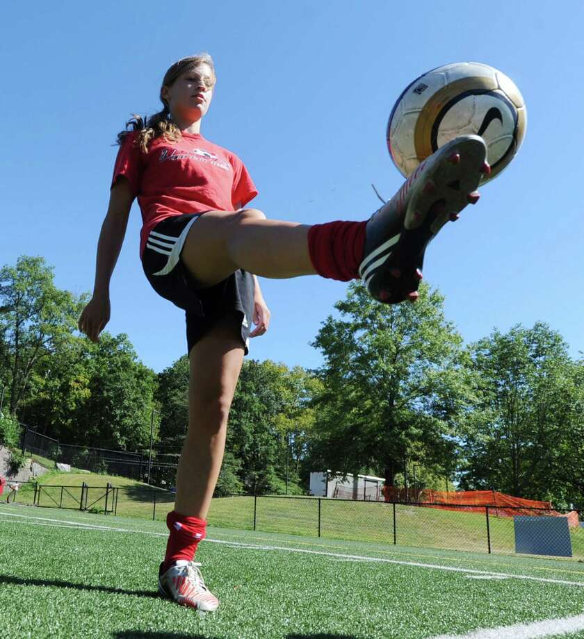 Greenwich High School girls soccer player, Liz Warner, 16, a captain, during practice at the school in Greenwich, Friday, Sept. 6, 2013. Photo: Bob Luckey / Greenwich Time