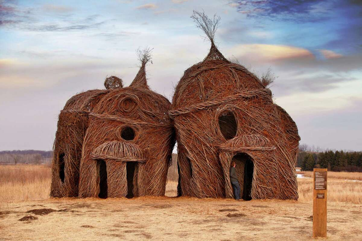 """Patrick Dougherty, known for his bent-twig installations, will create a site-specific work for Art in the Park in January. This is """"Lean on Me,"""" made in 2012 at College of St. Benedict & St. John University in Minnesota."""