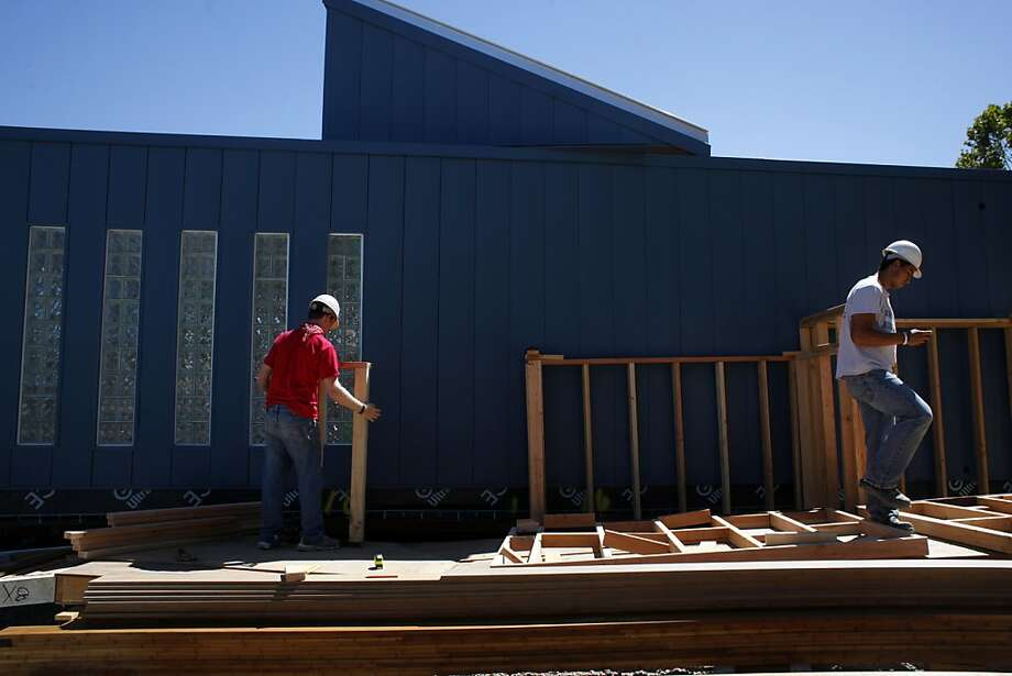 Santa Clara University students work on Radiant House, their entry in the Solar Decathlon, a competition created by the U.S. Department of Energy that attracts teams from all over the world. Photo: Lacy Atkins, The Chronicle