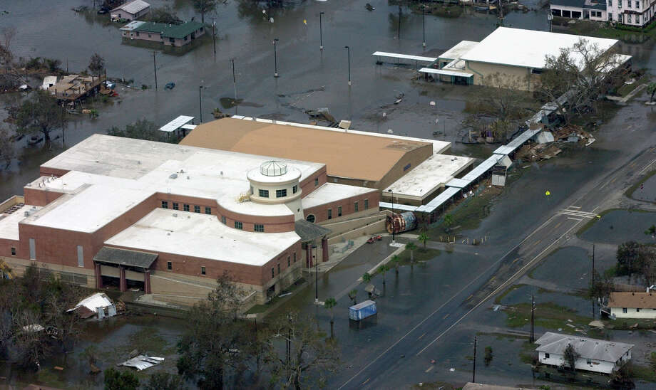Water from Hurricane Ike's storm surge flooded Sabine Pass.  The high school was not flooded inside, but was surrounded by several feet of water.  Dave Ryan/The Enterprise