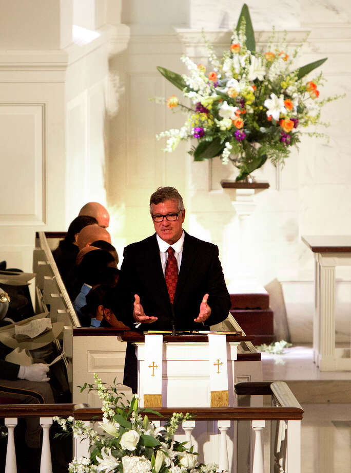 Mike Massey speaks words of remembrance during District Attorney Mike Anderson's funeral service at the First Presbyterian Church, Friday, Sept. 6, 2013, in Houston. Anderson died after a battle with cancer. Photo: Cody Duty, Houston Chronicle / © 2013 Houston Chronicle