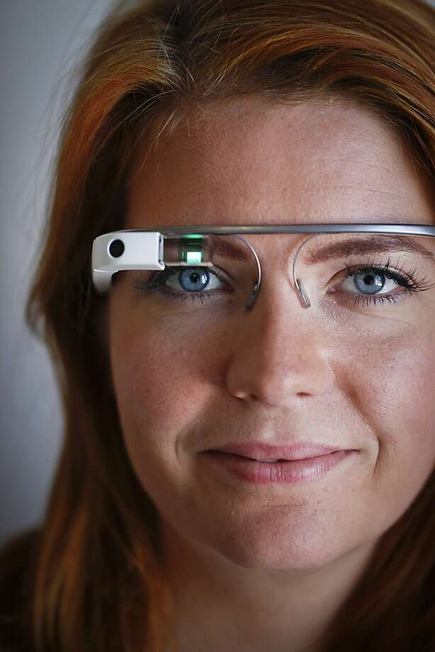 Rackspace will award $10,000 to the app developer with the best idea for Google Glass, being modeled here by industrial designer Isabelle Olsson. Photo: Russell Yip, The Chronicle