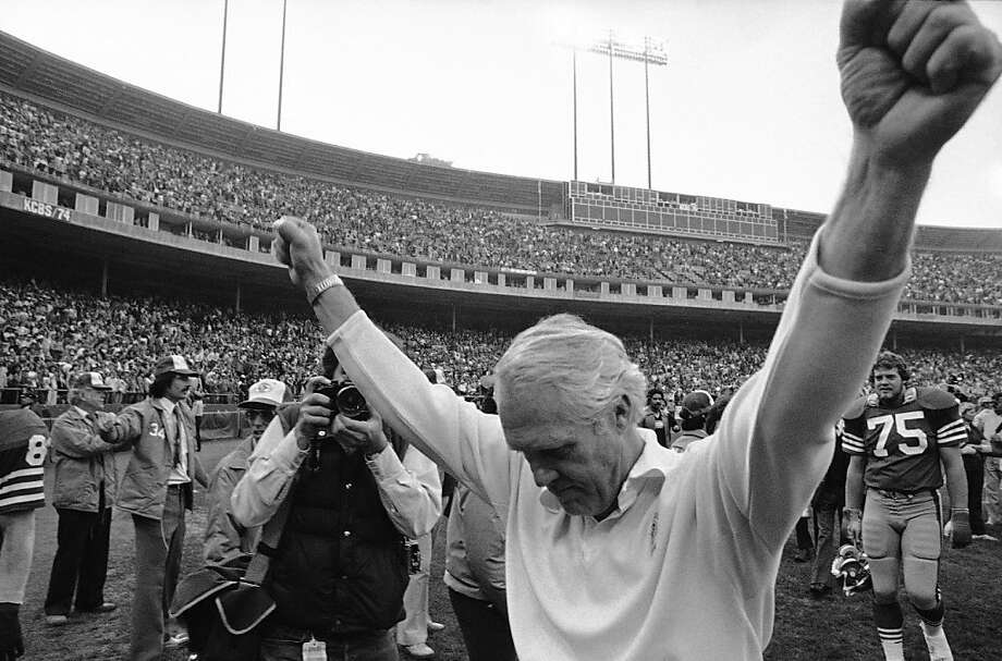 Head coach Bill Walsh enjoys a victory over the Falcons in 1981, 10 years after the 49ers moved to Candlestick Park from Kezar Stadium. The 1981 season ended with the team's first Super Bowl victory. Photo: Associated Press
