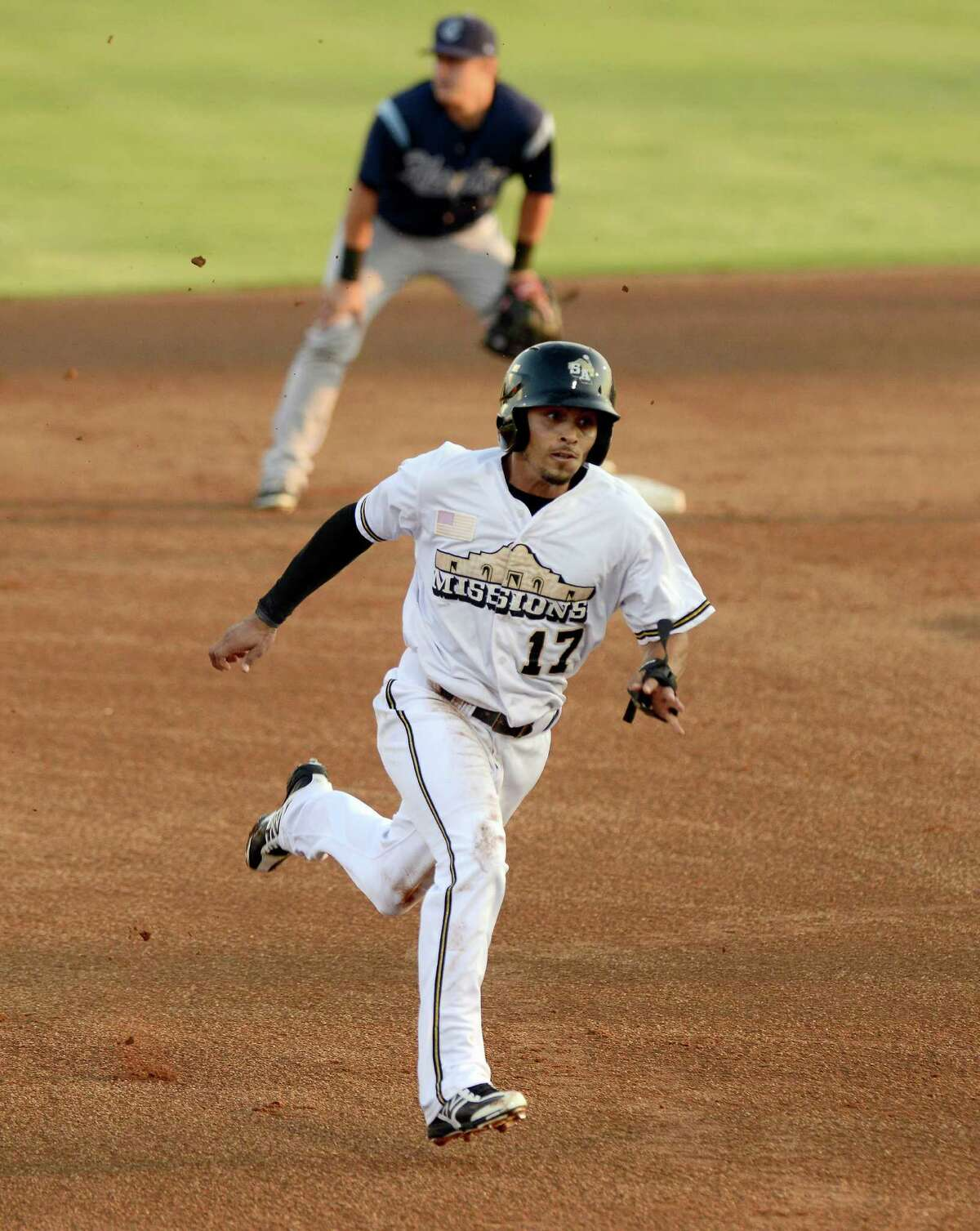 San Antonio Missions' Rico Noel runs to third during a Texas League playoff baseball game against the Corpus Christi Hooks, Friday, Sept. 6, 2013, at Nelson Wolff Municipal Stadium in San Antonio. (Darren Abate/For the Express-News)