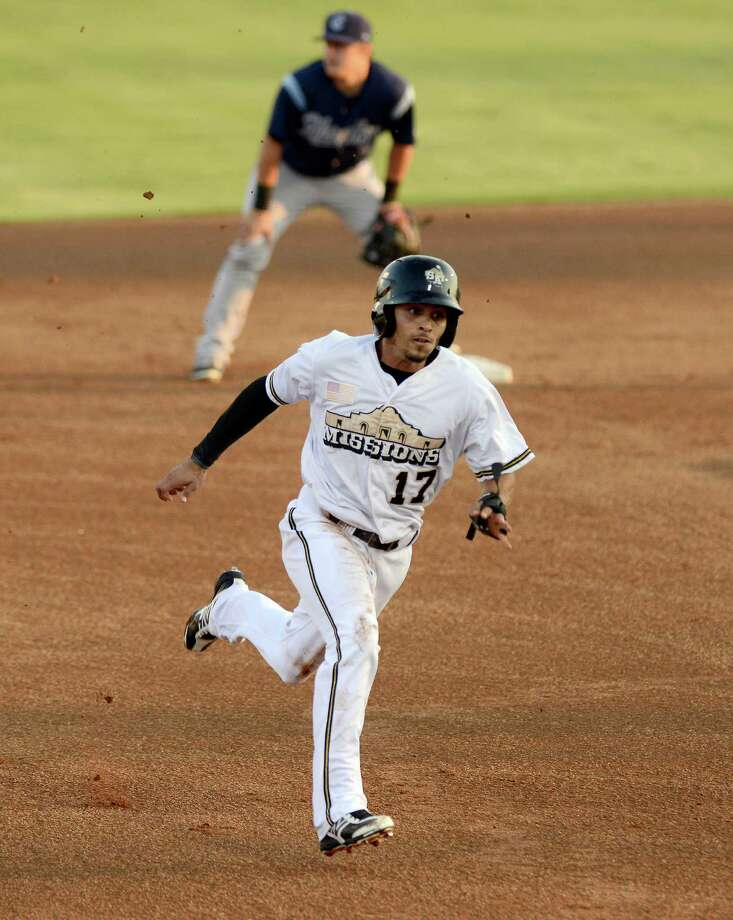 San Antonio Missions' Rico Noel runs to third during a Texas League playoff baseball game against the Corpus Christi Hooks, Friday, Sept. 6, 2013, at Nelson Wolff Municipal Stadium in San Antonio. (Darren Abate/For the Express-News) Photo: Darren Abate, For The San Antonio Express-News
