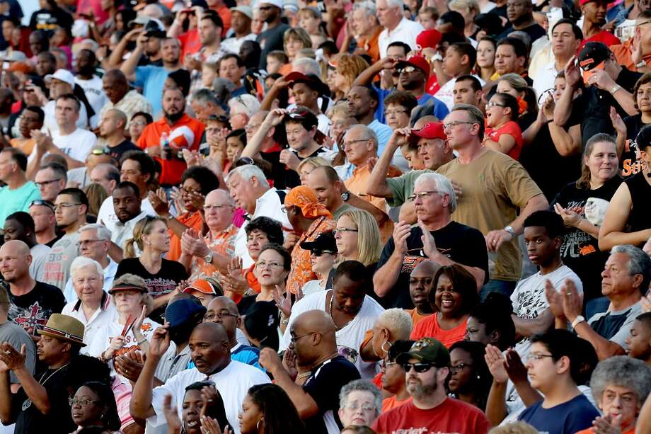 9/6/13: Texas City fans pack Etheredge Stadium in La Marque, Texas. Photo: Thomas B. Shea, For The Chronicle