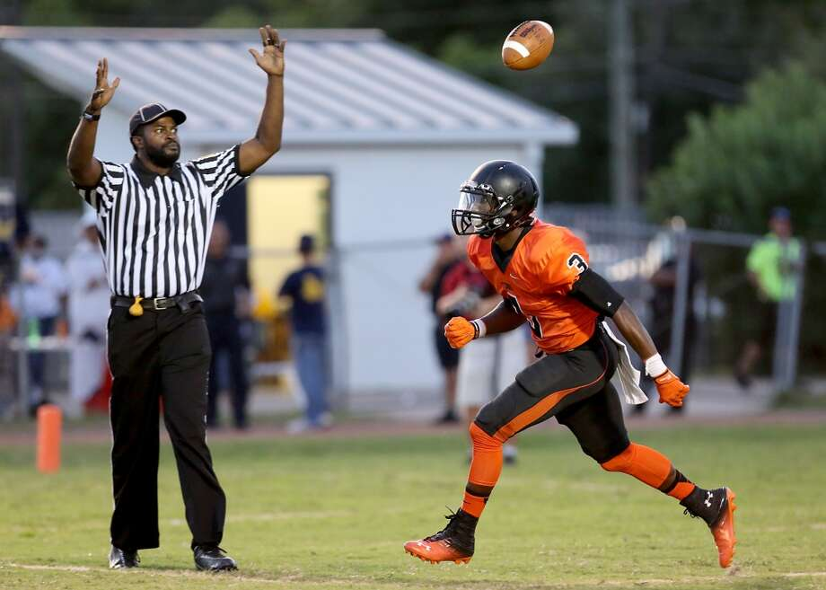 9/6/13: Texas City's Armanti Foreman #3 celebrates a touchdown reception against La Marque at Etheredge Stadium in La Marque, Texas. Photo: Thomas B. Shea, For The Chronicle