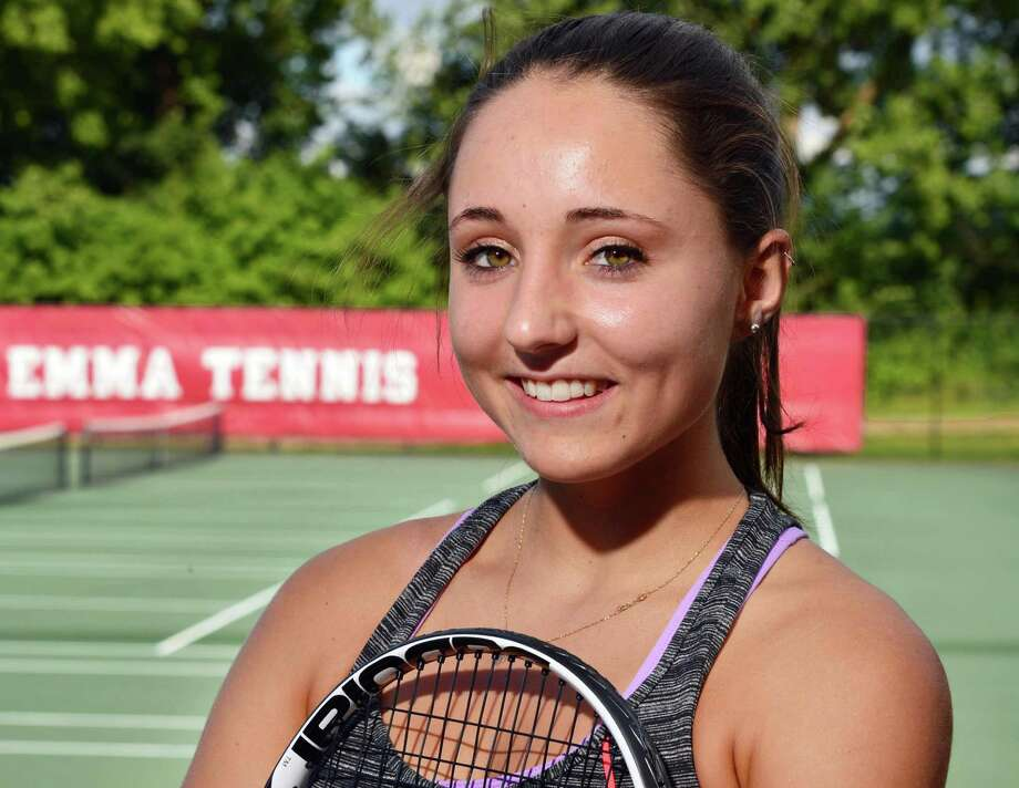 Emma Willard tennis player Claire Schmitz is photographed Tuesday afternoon, Sept. 3, 2013, in Troy, N.Y.  (John Carl D'Annibale / Times Union) Photo: John Carl D'Annibale / 00023729A