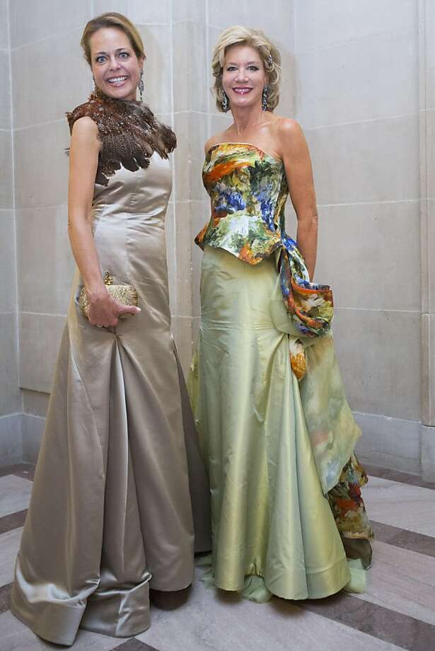 Charlot Malin, left, and Mary Poland in gowns by Keyna Aranguren during the 91st Season Opening Night Gala of the San Francisco Opera at City Hall in San Francisco, Calif. on Friday, Sept. 6, 2013. Photo: Stephen Lam, Special To The Chronicle
