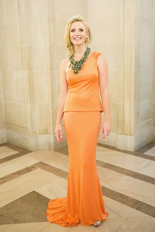 Jennifer Siebel Newsom in a gown by Karen Caldwell 