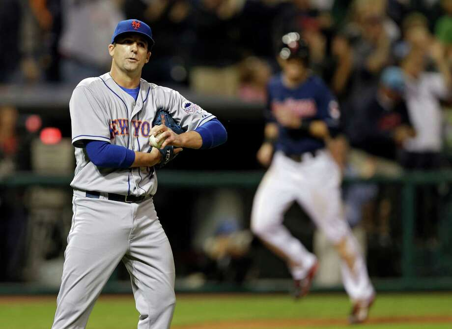 New York Mets relief pitcher Tim Byrdak reacts after giving up a grand slam to Cleveland Indians' Nick Swisher in the eighth inning of a baseball game Friday, Sept. 6, 2013, in Cleveland. (AP Photo/Mark Duncan) ORG XMIT: CDB115 Photo: Mark Duncan / AP