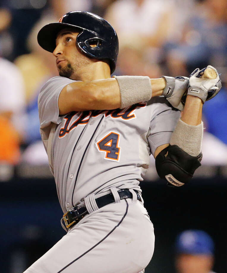 Detroit Tigers' Omar Infante hits a three-run double off Kansas City Royals relief pitcher Luis Mendoza during the fifth inning of a baseball game at Kauffman Stadium in Kansas City, Mo., Friday, Sept. 6, 2013. (AP Photo/Orlin Wagner) ORG XMIT: MOOW114 Photo: Orlin Wagner / AP