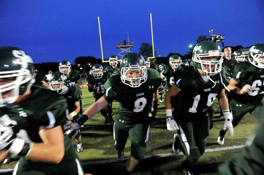 Shenendehowa's football team takes the field for their game against Columbia on Friday, Sept. 6, 2013, at Shenendehowa High in Clifton Park, N.Y. (Cindy Schultz / Times Union) Photo: Cindy Schultz / 00023759A