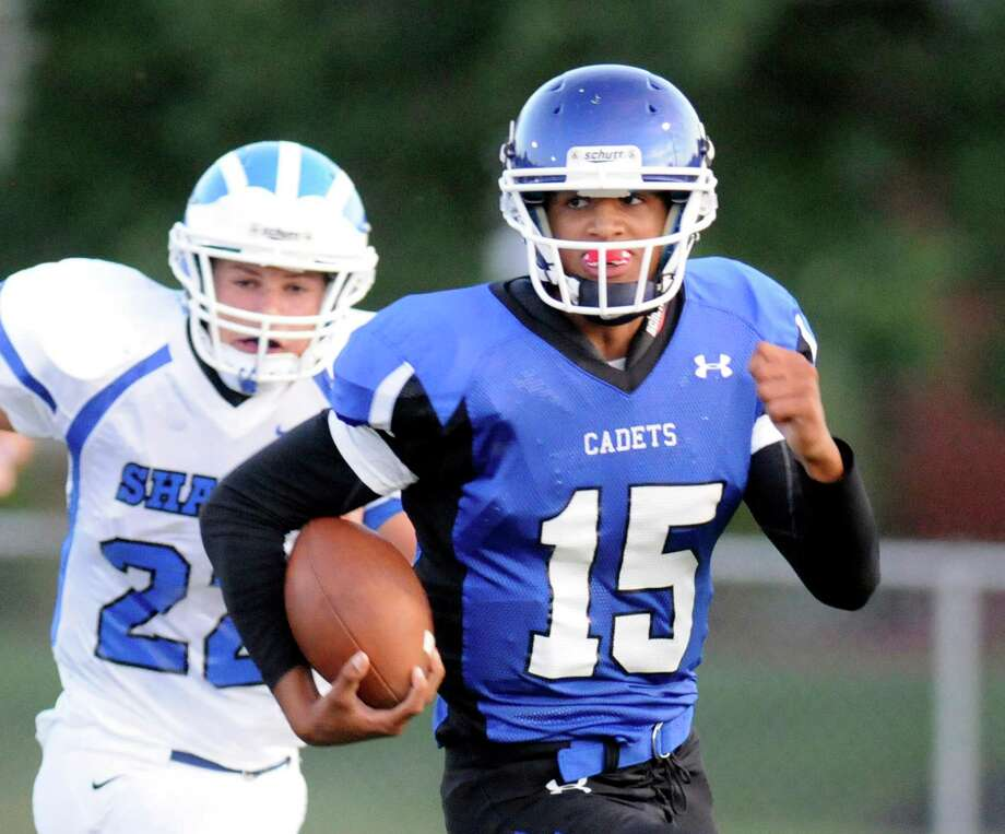 La Salle's Will Williams (15) runs the ball against Shaker during their Class AA football game in Troy, N.Y., Friday, Sept. 6, 2013. (Hans Pennink / Special to the Times Union) ORG XMIT: HP107 Photo: Hans Pennink / Hans Pennink