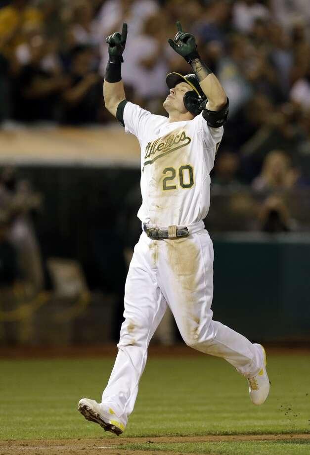 Josh Donaldson celebrates after hitting a two-run home run. Photo: Ben Margot, Associated Press