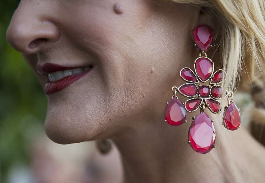 Karen Caldwell accessorized a gown of her own design with Oscar de la Renta earrings at the 91st San Francisco Season-Opening Opera Gala in San Francisco Calif. on Friday, Sept. 6, 2013. Photo: Alex Washburn, Special To The Chronicle