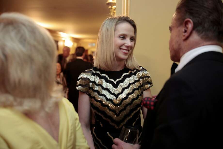Yahoo CEO Marissa Mayer (in Jason Wu) chats with other attendees at the 91st San Francisco Season Opening Opera Gala in San Francisco Calif. on Friday, Sept. 6, 2013. Photo: Alex Washburn, Special To The Chronicle