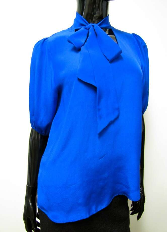 Silk secretary blouse, Glam (Made in U.S.A.), LUXE Boutique, Beaumont, $69 Photo: Cat5