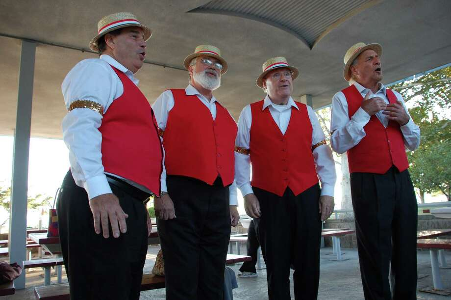 Heartfelt, a White Plains, N.Y.-based barbershop quarter, entertained at Shorefest on Friday. From left, the singers are: Len Sklerov, Glen Allen, Bill Kruse and Marty Taylor. Photo: Jarret Liotta / Westport News contributed