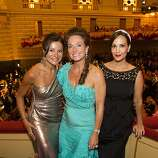 (L-R) Claudia Ross in a gown by Donna Karan, Elisabeth Thieriot in a gown by Zac Posen, and Lora du Bain in a Vintage Nina Ricci gown