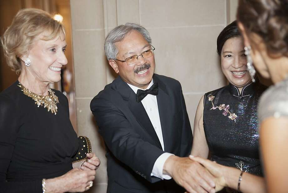 Nancy Bechtle (left), San Francisco Mayor Ed Lee (center) and his wife Anita greet fellow attendees  at the 91st San Francisco Season-Opening Opera Gala in San Francisco Calif. on Friday, Sept. 6, 2013. Photo: Alex Washburn, Special To The Chronicle