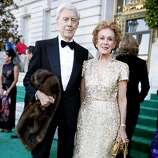 Robert Girard (in Armani) and Pheobe Cowles in a gold Oscar de la Renta gown arrive at the 91st San Francisco Season-Opening Opera Gala in San Francisco Calif. on Friday, Sept. 6, 2013.