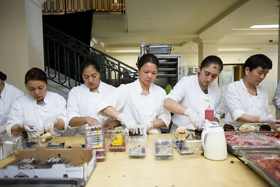 Kitchen staff assemble chocolate skull desserts during the 91st Season Opening Night Gala of the San Francisco Opera at City Hall in San Francisco, Calif. on Friday, Sept. 6, 2013. Photo: Stephen Lam, Special To The Chronicle