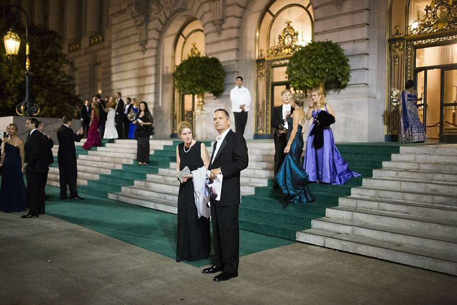 Rick and Donna Matcovich waits for their car after attending San Francisco Opera's 91st Season Opening Night after party at City Hall in San Francisco, Calif. on Saturday, Sept. 7, 2013. Photo: Stephen Lam, Special To The Chronicle