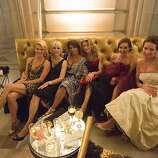 (L-R) Suzanne Meier, Kimberlee Sharp, Sujata Pherwani, Cynthia Deaver, Marybeth Lamotte, and Anne Laury pose for a group photo during San Francisco Opera's 91st Season Opening Night after party at City Hall in San Francisco, Calif. on Saturday, Sept. 7, 2013.