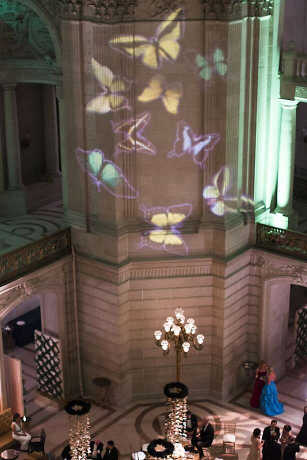 Butterflies are seen projected onto the wall inside City Hall during the after party of the 91st Season Opening Night of the San Francisco Opera San Francisco, Calif. on Saturday, Sept. 7, 2013. Photo: Stephen Lam, Special To The Chronicle