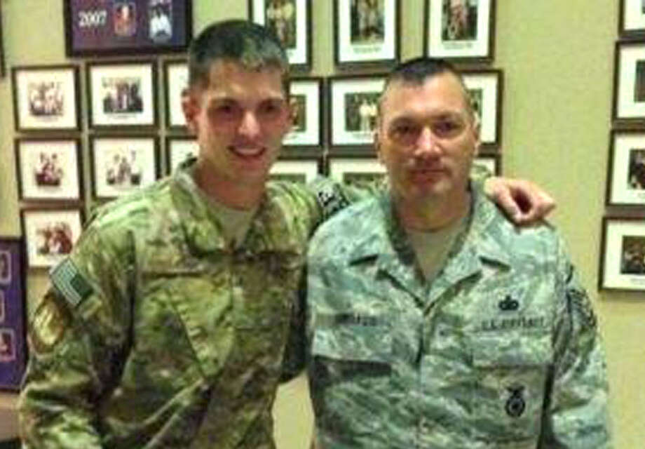 "Todd James ""T.J."" Lobraico, 22, of New Fairfield, left, and his father, Todd Lobracio, a Stamford police officer and Air Force veteran.  Facebook photo Photo: Contributed Photo"