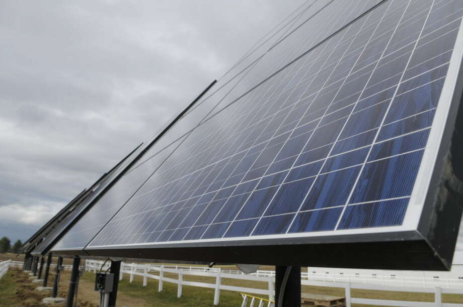A view of some of the solar panels that High Peaks Solar installed at a farm, seen here on Wednesday, Nov. 30, 2011in Schuylerville.    (Paul Buckowski / Times Union) Photo: Paul Buckowski / 00015599A