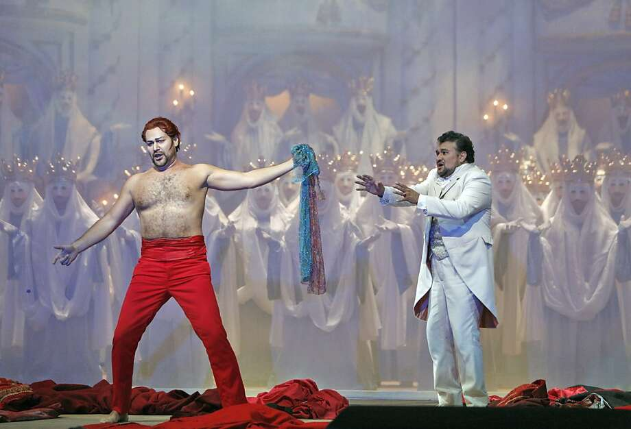 Ildar Abdrazakov (left) is Mefistofele and Ramón Vargas is Faust in a weaker production than past S.F. Opera runs. Photo: Cory Weaver, SF Opera