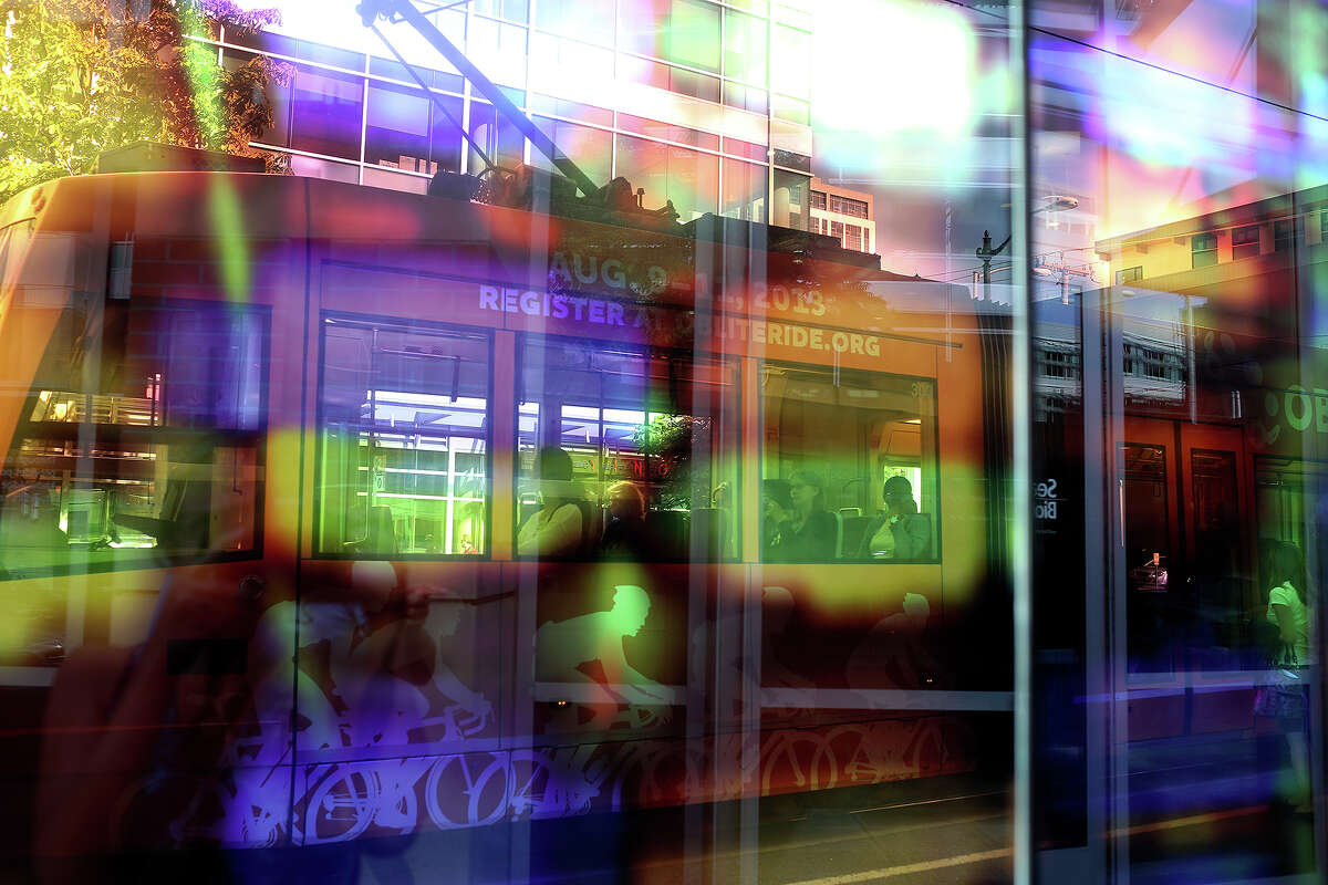 South Lake Union Line of the Seattle Streetcar is seen through colored glass in Seattle on July 8, 2013.