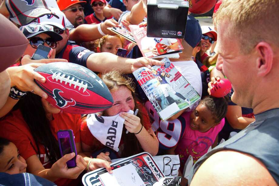 Texans defensive end J.J. Watt has become a guaranteed crowd pleaser and media attraction during his relatively short time in Houston. Photo: Brett Coomer, Staff / © 2013 Houston Chronicle