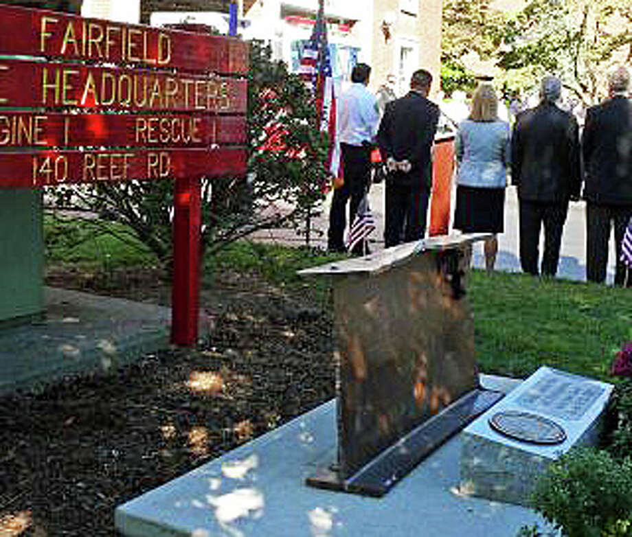 A ceremony honoring the memory of victims of the Sept. 11, 2001, terrorist attacks is planned Wednesday at Fire Department headquarters, where there is a memorial made with a steel beam from the World Trade Center. Photo: File Photo / Fairfield Citizen