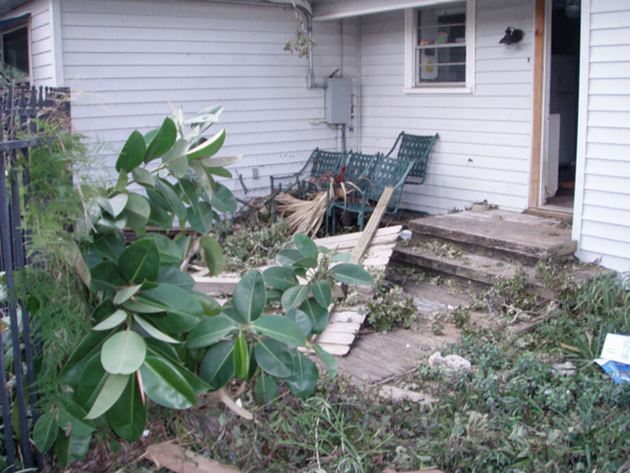 Another view of the debris in my driveway and deck. Photo: Karen Heck