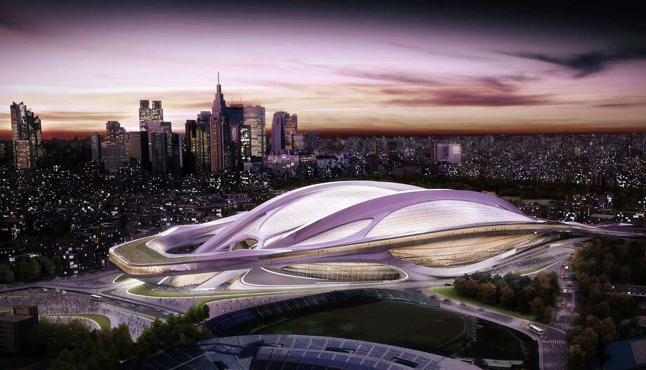 This artist rendering released by Japan Sport Council shows the new National Stadium, which will become the main venue for the 2020 Summer Olympics if Tokyo is chosen as the host city in the International Olympic Committee voting in Argentina Saturday, Sept. 7, 2013. Tokyo is competing with Madrid and Istanbul for the right to host the 2020 Olympic Games. The Japan Sport Council announced the selection of the streamlined stadium designed by Iraqi architect Zaha Hadid, based in London, from 46 entries on Nov. 15, 2012. The new stadium, that can accommodate 80,000 spectators, will replace the current National Stadium, the main venue for the 1964 Tokyo Olympics. Photo: AP