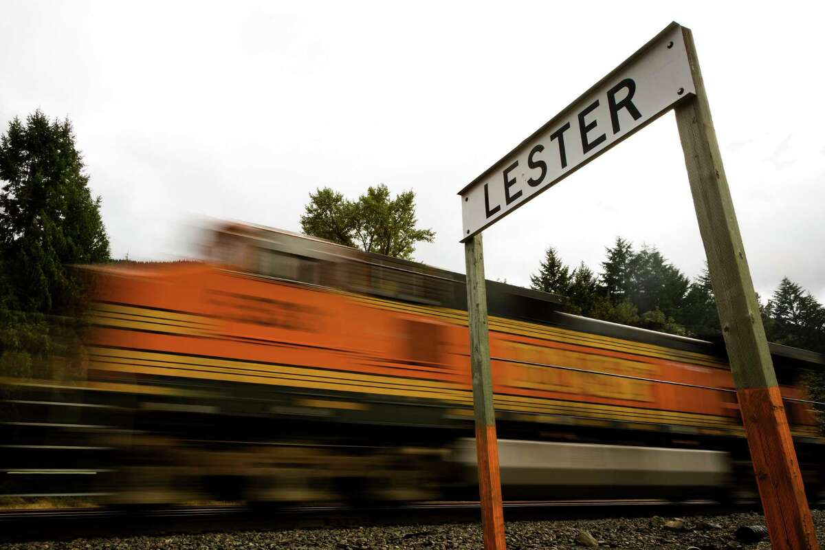 The train passes through the remains of Washington's ghost town of Lester near Stampede Pass, just south of Snoqualmie Pass on Friday, Sept. 6, 2013. Founded in 1892, Lester was primarily a logging town. Its final living resident, Gertrude Murphy, 99, passed away in 2002.