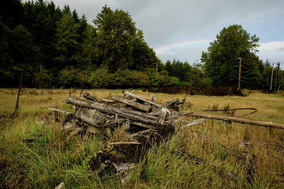 A rainbow appears over the remains of a six stall roundhouse and locomotive turn table in Washington's ghost town of Lester. Photo: JORDAN STEAD, SEATTLEPI.COM / SEATTLEPI.COM
