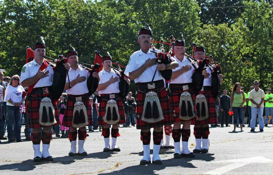Bagpipers attend the13th annual CT United Ride, the largest 9/11 Tribute in CT, in Norwalk on Sunday, Sept. 8, 2013. Photo: BK Angeletti, B.K. Angeletti / Connecticut Post freelance B.K. Angeletti