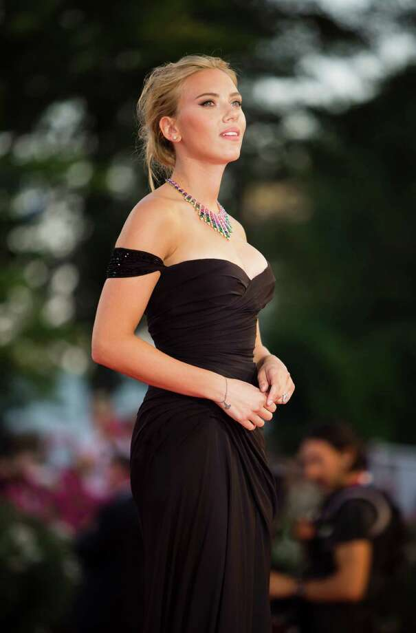 Actress Scarlett Johansson arrives on the red carpet for the screening of the film Under The Skin at the 70th edition of the Venice Film Festival held from Aug. 28 through Sept. 7, in Venice, Italy, Tuesday, Sept. 3, 2013. Photo: AP