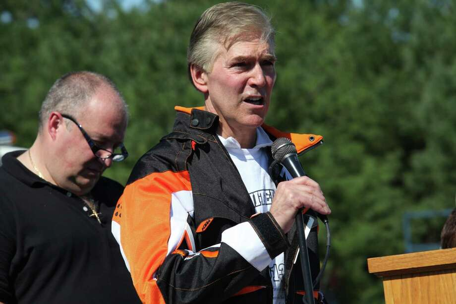 Easton First Selectman Thomas Herrmann speaks at the 13th annual CT United Ride, the largest 9/11 Tribute in CT, in Norwalk on Sunday, Sept. 8, 2013. Photo: BK Angeletti, B.K. Angeletti / Connecticut Post freelance B.K. Angeletti