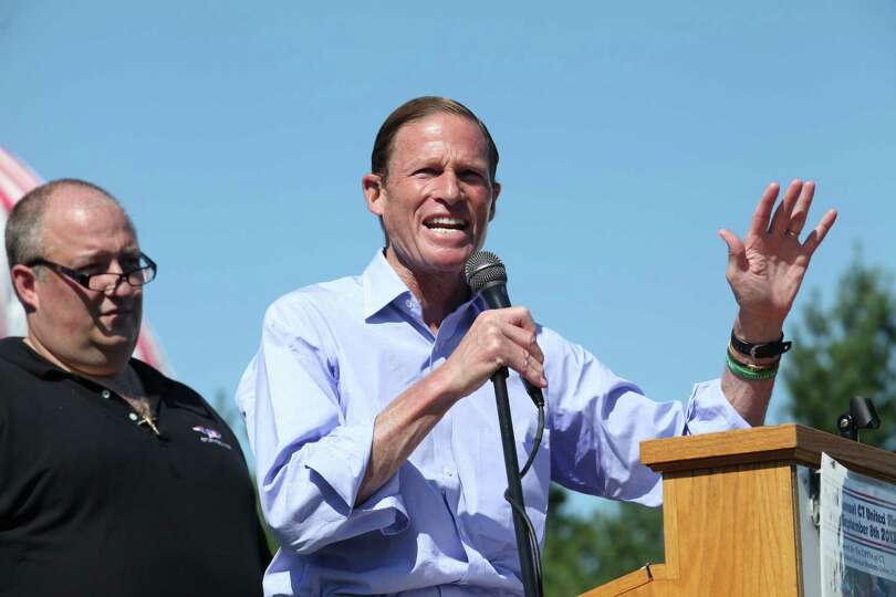 U.S. Senator Richard Blumenthal speaks at the 13th annual CT United Ride, the largest 9/11 Tribut