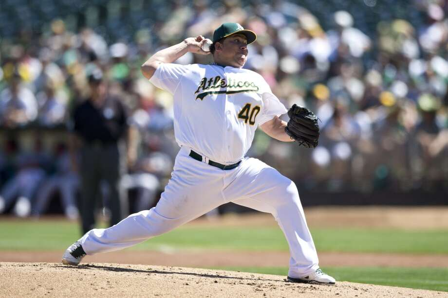 Bartolo Colon of the Athletics pitches against the Astros. Photo: Jason O. Watson, Getty Images