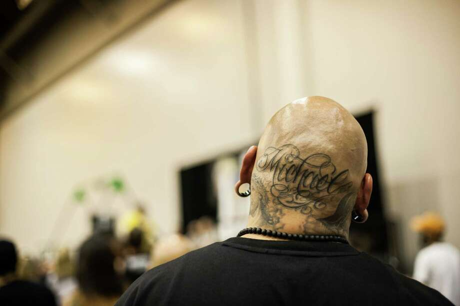 Danny Blu of Houston shows off his head tattoos during the Body Art Expo at the Reliant Center Saturday September 7, 2013. Photo: Michael Starghill, Jr. / © 2013 Michael Starghill, Jr.