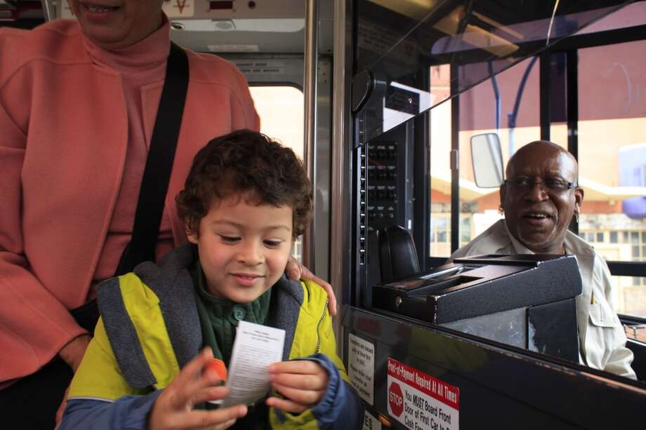 Ben Easter, 4, proudly holds on to a transfer ticket he received from one of his favorite MUNI drivers, Thomas Booker. Photo: Mike Kepka, The Chronicle
