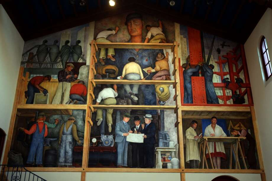 FICTION. There are Diego Rivera murals at City College of San Francisco, the S.F. Art Institute, and the City Club, but not at Coit Tower. Photo: Liz Hafalia, The Chronicle