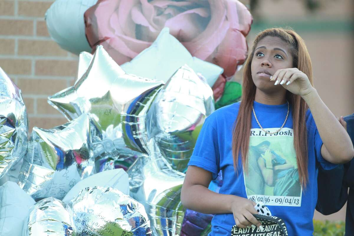 Spring High School students' attempt at mourning a fellow student's life on Sunday, Sept. 8, was ruined when Hispanic gang Brown Pride disrupted the memorial by firing shots. (Mayra Beltran/Houston Chronicle)