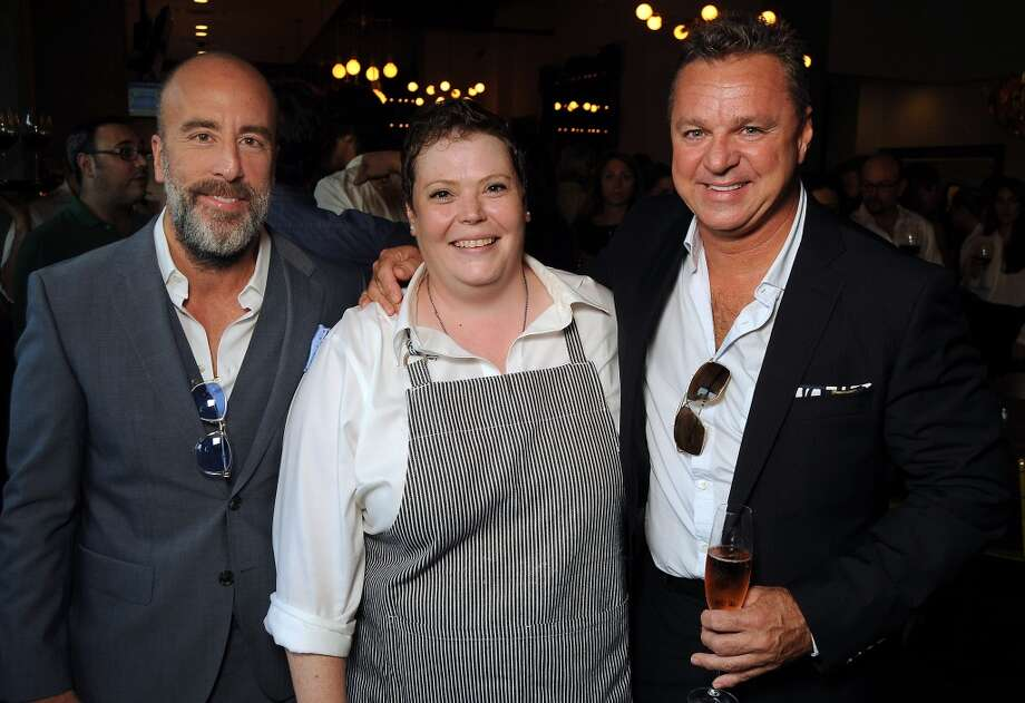 From left: Grant Cooper, chef Brandi Key and Charles Clark at the Coppe Osteria Opening benefitting Texas Children's Cancer Center Wednesday Sept. 04, 2013.(Dave Rossman photo) Photo: Dave Rossman, For The Houston Chronicle